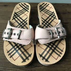 Burberry Nova Check Pink Leather Wooden Clogs 36